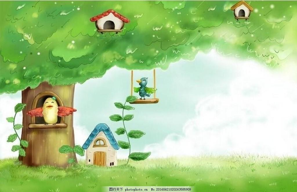 大树上的童话世界 卡通 房子 鸟窝 漫画 背景素材 卡通风景 卡通背景图片