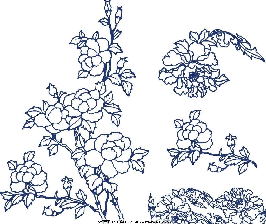 梅花 玫瑰花 牡丹花 矢量 线描 线描花 枝干 图案 设计 自然景观 自然