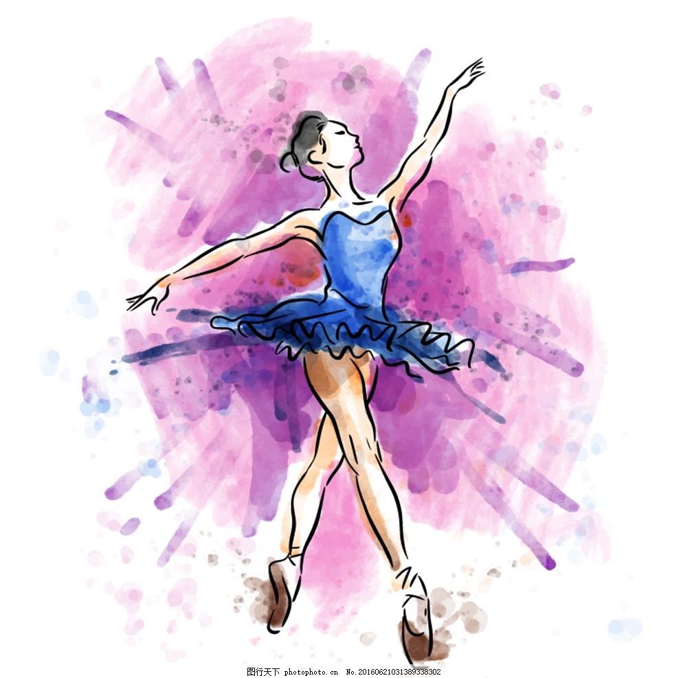 舞蹈 少女插画 芭蕾 芭蕾舞 长发 水彩 手绘 速写 少女 裙子飘逸 现代