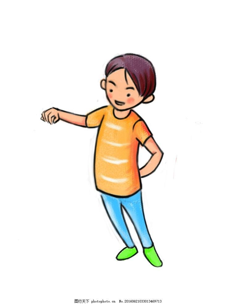 可爱清新的卡通小男孩 男孩 可爱 卡通 清新 手绘 线稿 设计 psd分层