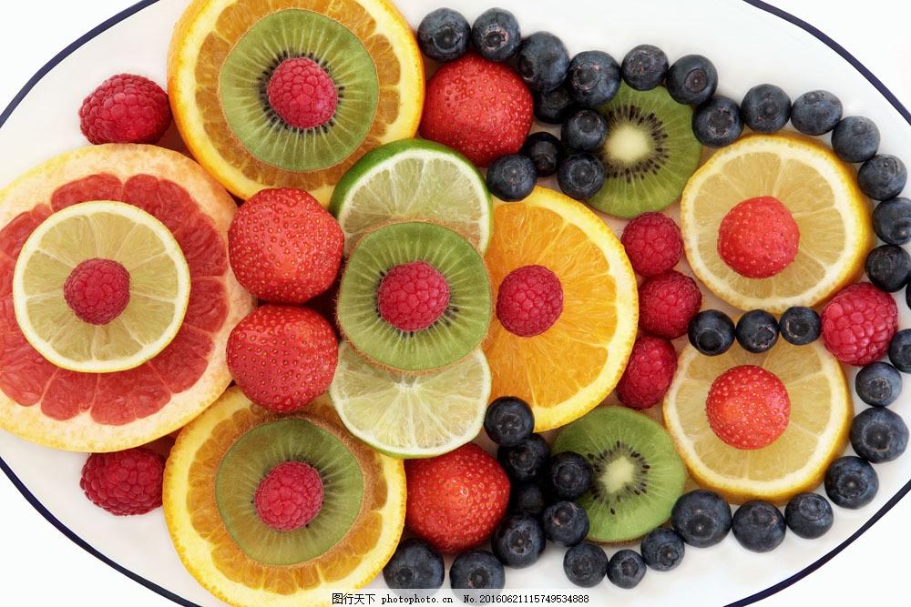 水果拼图图片素材 柠檬 蓝莓 草莓 调料 诱人美食 食物原料 食材原料