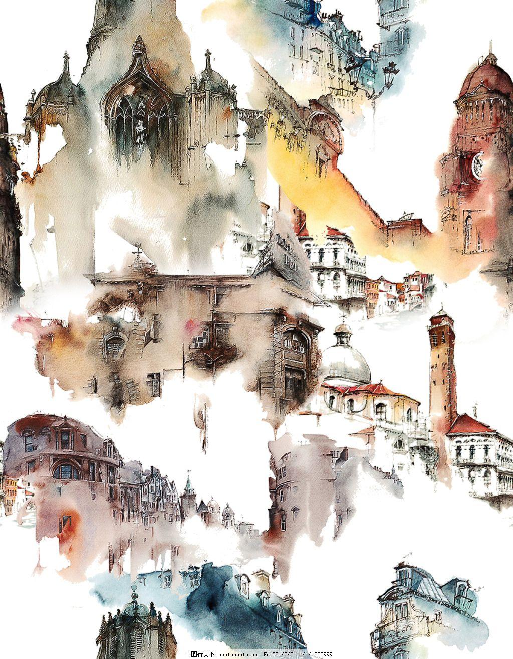 水彩建筑 水彩 建筑 水墨 手绘 城堡 tif 白色 tif