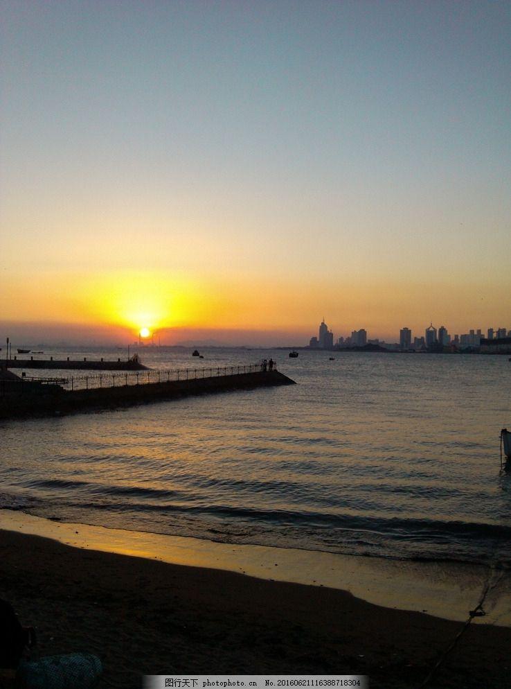 夕阳海景 夜晚 大海 青岛 日暮 海水 波浪 摄影 旅游摄影