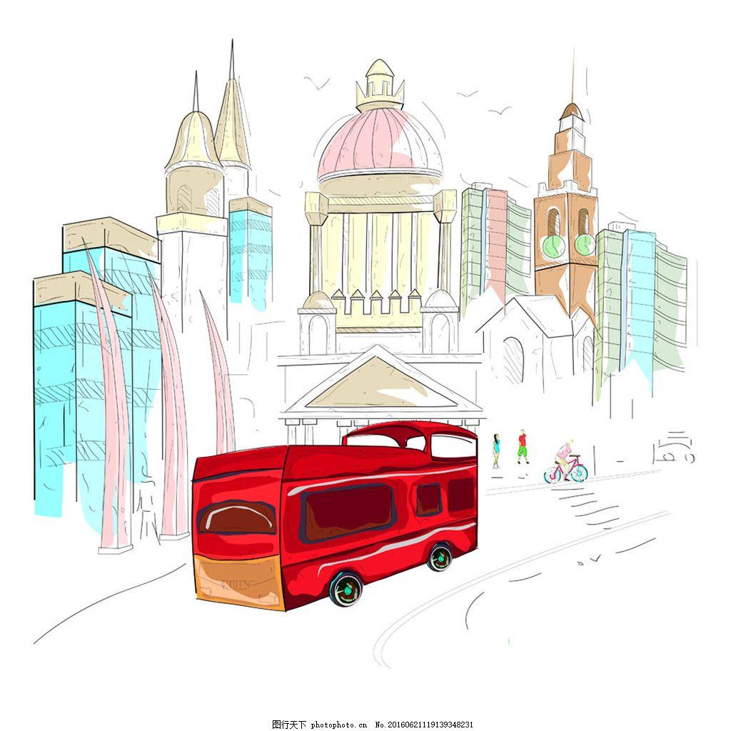 公交车与建筑物手绘图片