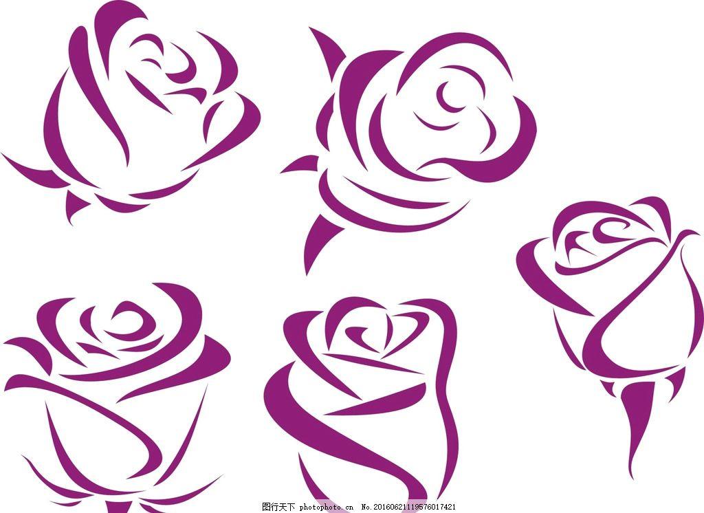 抽象玫瑰花 黑白玫瑰花 线条 玫瑰花卉 手绘玫瑰 古典 时尚 绽放