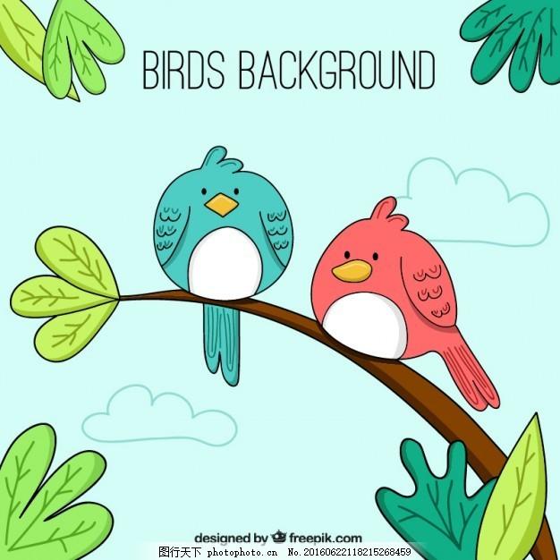 手画可爱的小鸟在树枝上背景 自然 叶 动物 翅膀 树叶 羽毛 鸟类