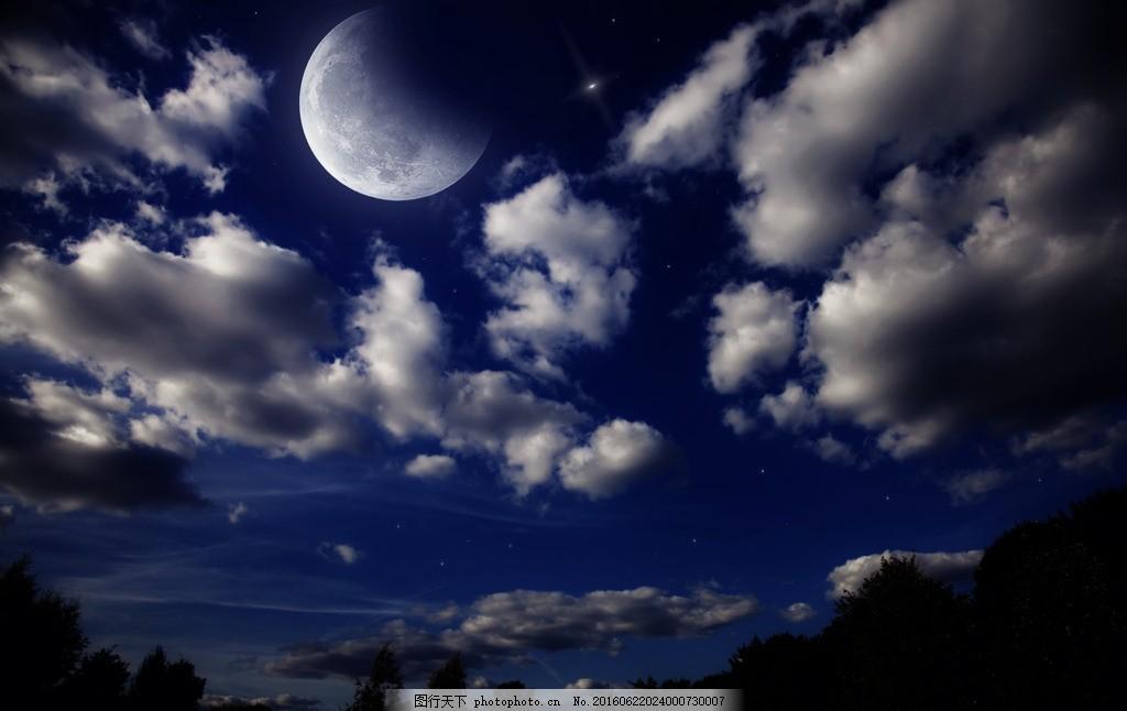 月下美景 月景 月亮 月圆之夜 圆月 月下的景色 夜空 黑夜 月下的城市