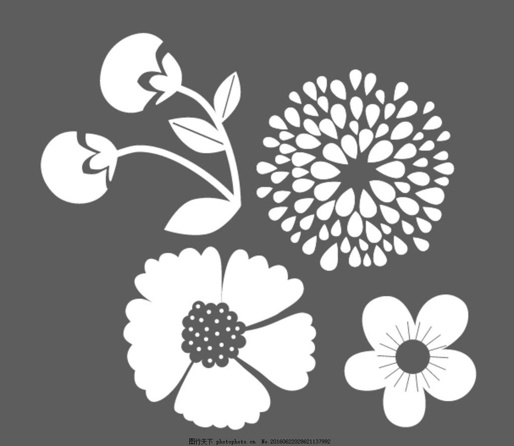 花朵简笔画,可爱 手绘素材 儿童素材 幼儿园素材 矢量