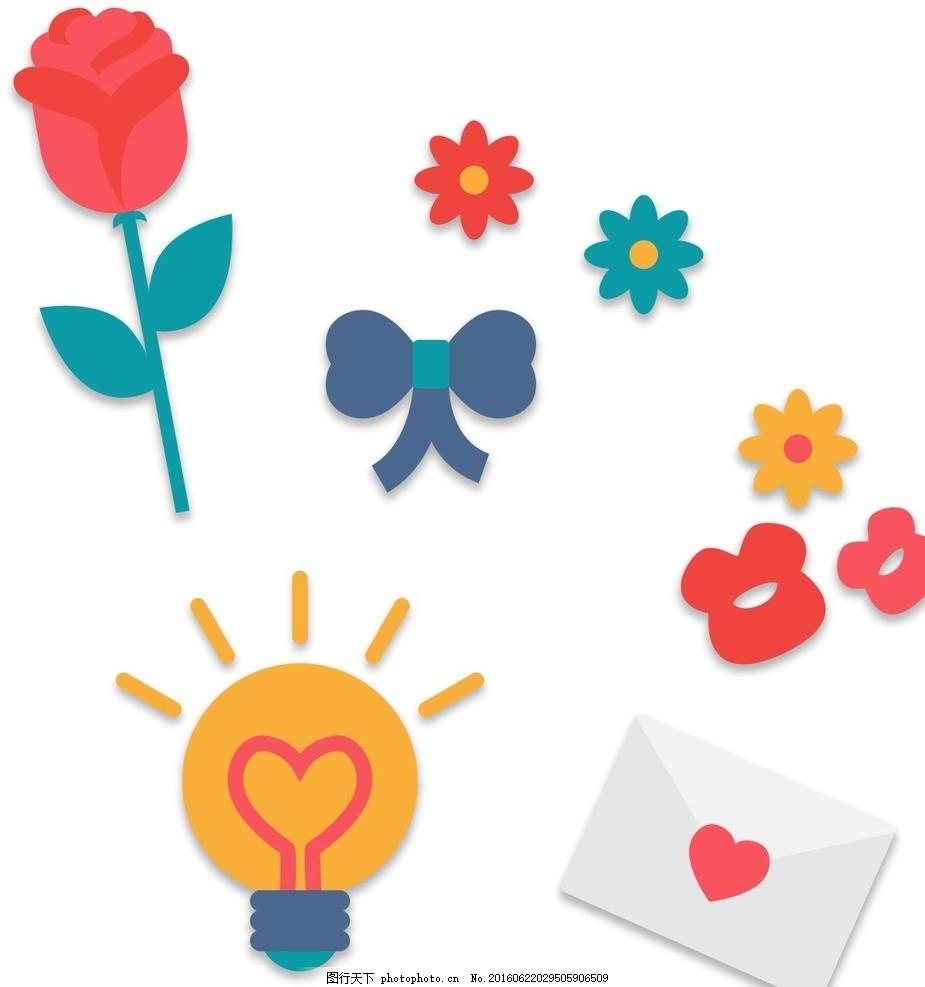 玫瑰花 灯泡 花朵 卡通素材 可爱 素材 手绘素材 儿童素材 幼儿园素