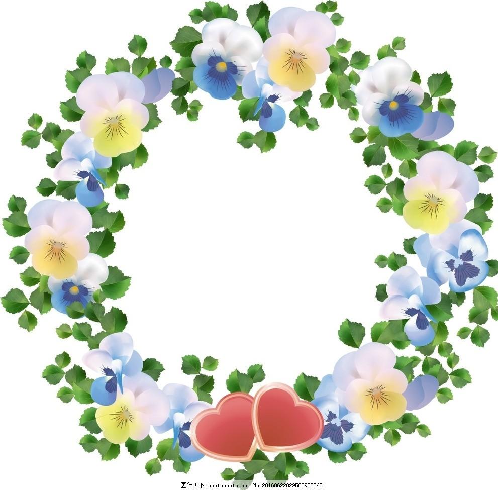 圆形鲜花花藤 圆形鲜花 圆形 花环 时尚 潮流 唯美 清新 手绘花卉