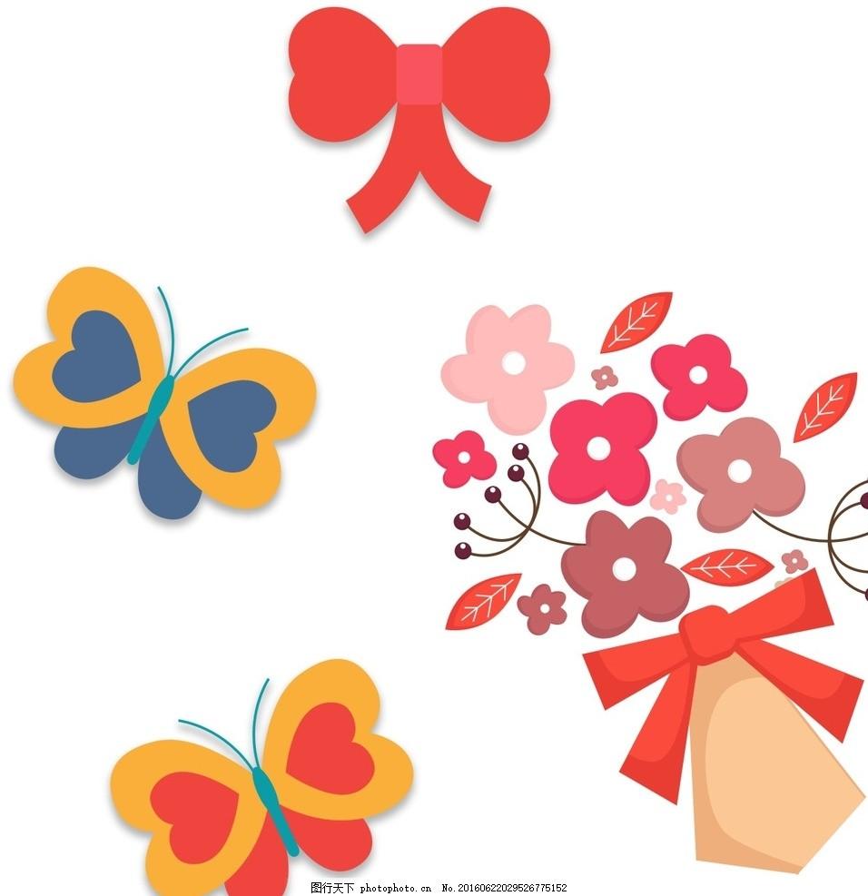 蝴蝶结 花朵装饰 卡通素材 可爱 手绘素材 儿童素材 幼儿园素材