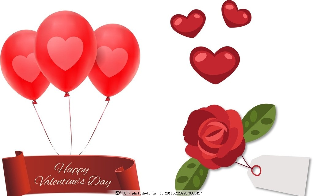红色气球 爱心 玫瑰花 吊牌