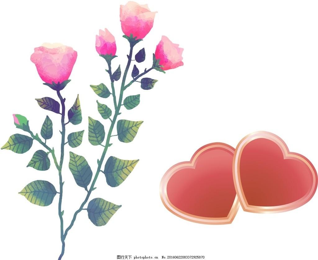 手绘玫瑰花 心形