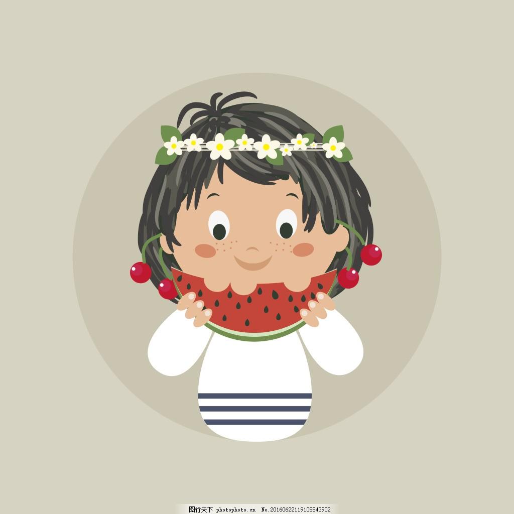 小女孩吃西瓜 女孩 西瓜 樱桃 夏天 黄皮肤 卡通 可爱 花环 圆形