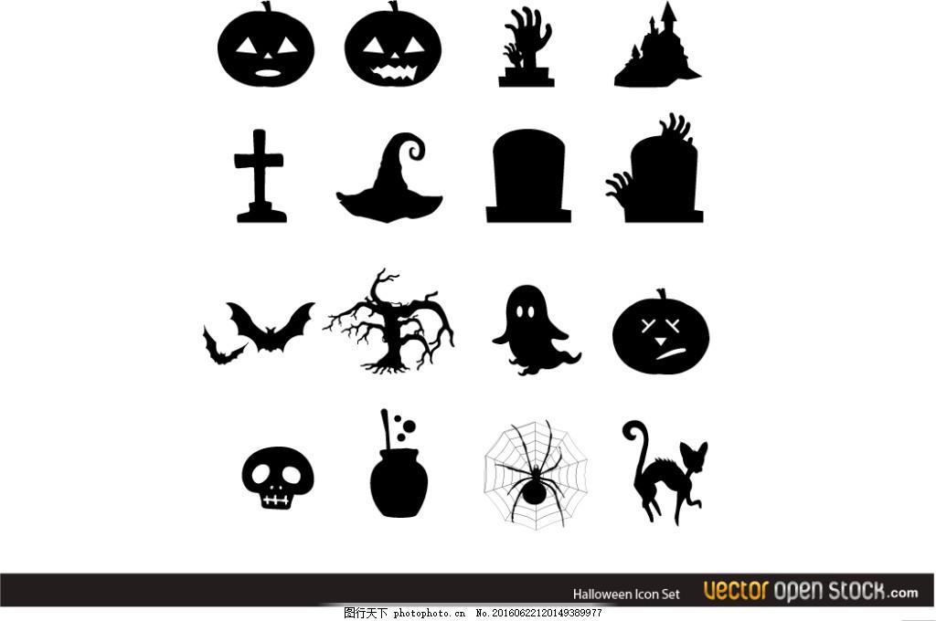 万圣节图标 手绘卡通 卡通海报 可爱 搞怪 蝙蝠 黑猫 月亮 眼球