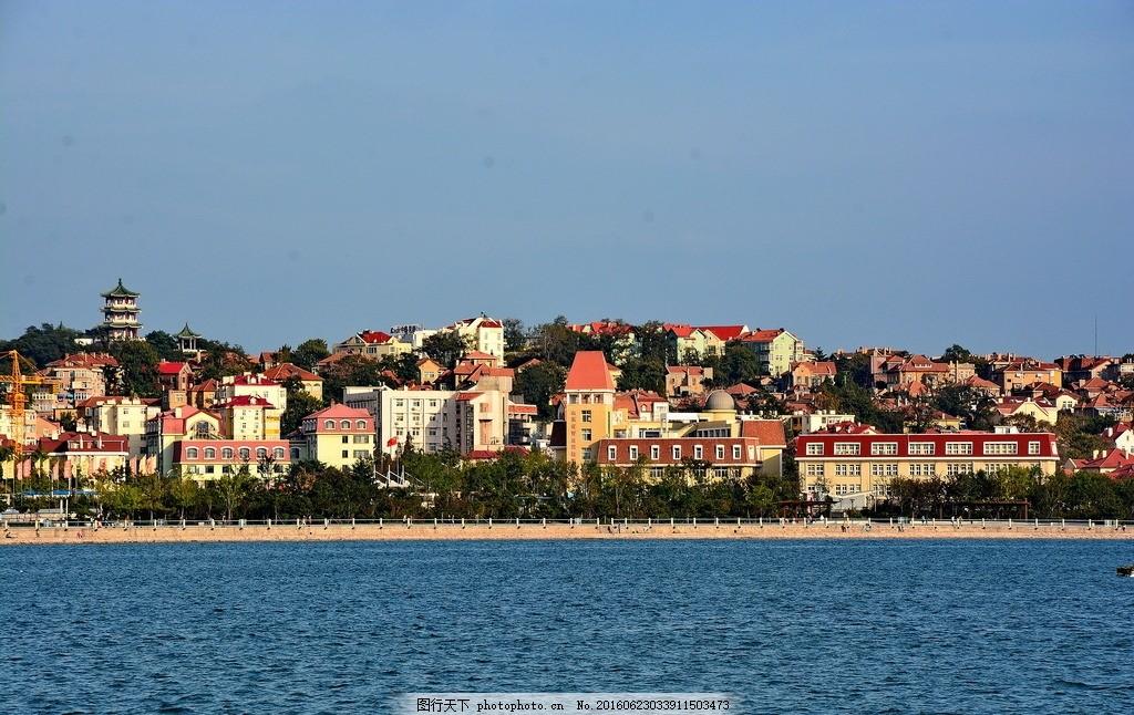 青岛景观 山东省 青岛市 大海 海滩 沙滩 海边 日落 高楼大厦 都市