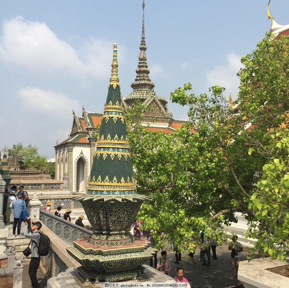 泰国风景 风景 国外风景 泰国风光 寺院 绿树 游人 名胜古迹 摄影
