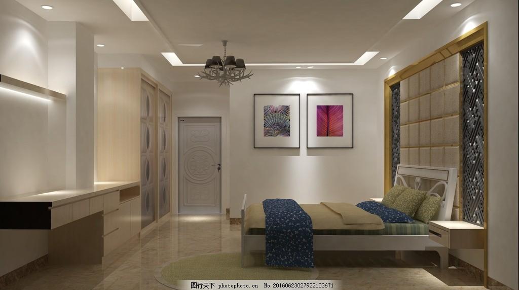 简约主人房效果图 床头背景墙 房间天花 软包背景墙 简约风格