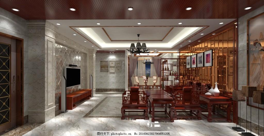 新中式效果图 新古典效果图 电视背景墙 石塑背景墙 天花设计 玄关