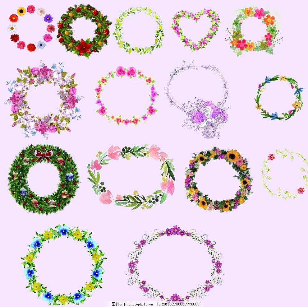 鲜花 浪漫 欧式 唯美 婚礼 花卉类 温馨花 花环 图片下载 花环素材