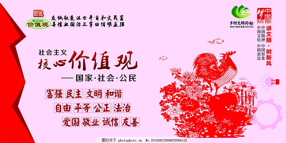 社会主义核心价值观宣传展板 讲文明 树新风 图说 中国梦 自由
