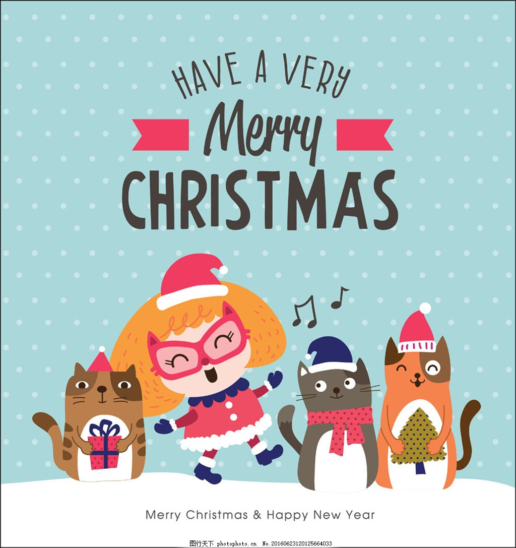 会唱歌的圣诞动物和小女孩图片