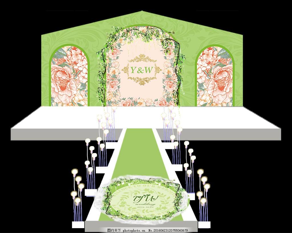 森系婚礼效果图免费下载 logo psd 婚礼背景 清新花朵 纱 设计 小清新