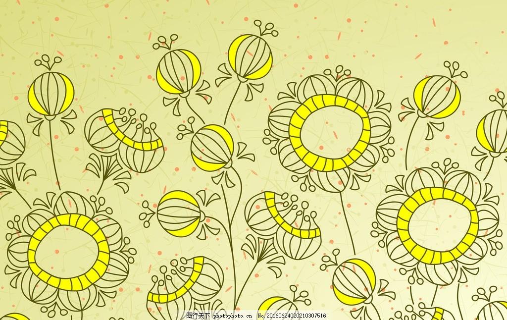 金黄手绘向日葵背景