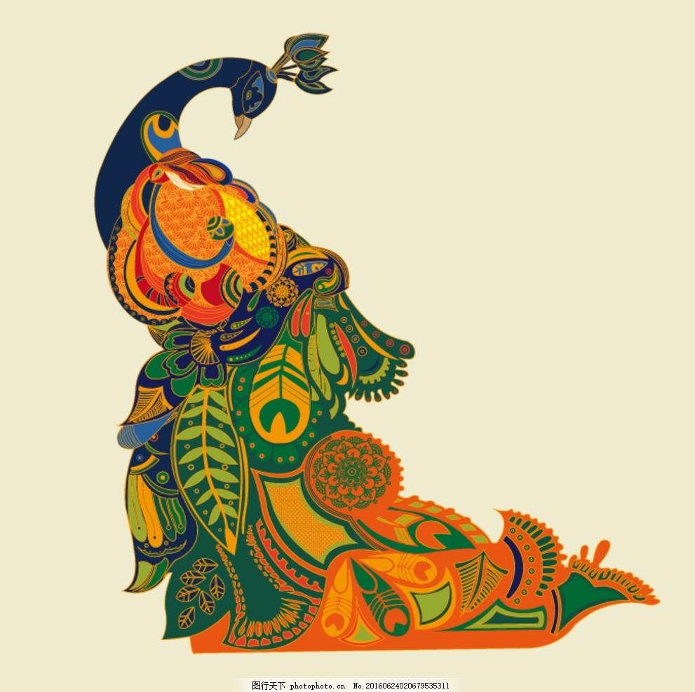 动物 服装图案 花纹 孔雀 印花矢量图 植物花纹 矢量趣多多 设计 底纹