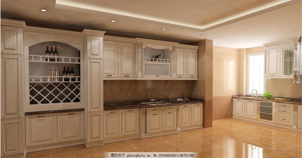 中厨西橱 描金 白色 橱柜 定制 家居效果图