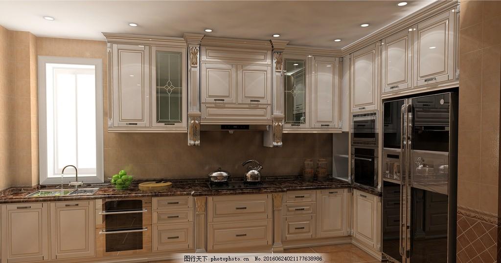 白色欧式橱柜 描金 中厨 西橱 家居效果图