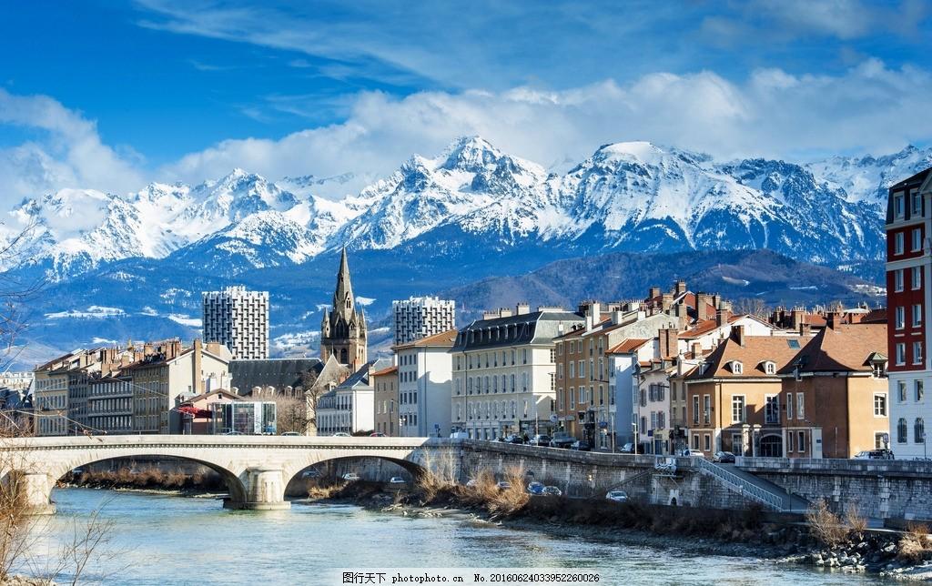 桥 河 欧洲 欧洲风景 小镇风光 小镇 蓝天 风景 美景 大自然 摄影