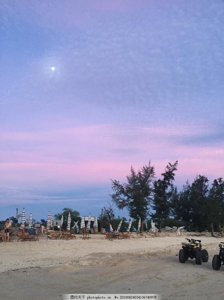 沙滩 晚霞天空 自然景观 粉红天空 海边沙滩 摄影 自然景观 自然风景