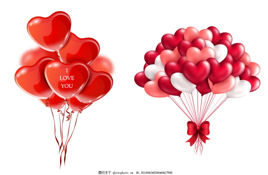 红色爱心气球 红色心形气球 心形气球贺卡 爱心 气球 一束气球 心形