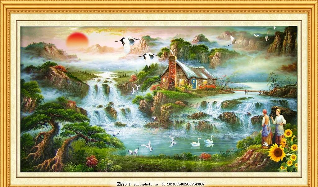 风景山水壁画 模版下载 山水画 中堂画 壁画 瀑布 瀑布风景 风景画