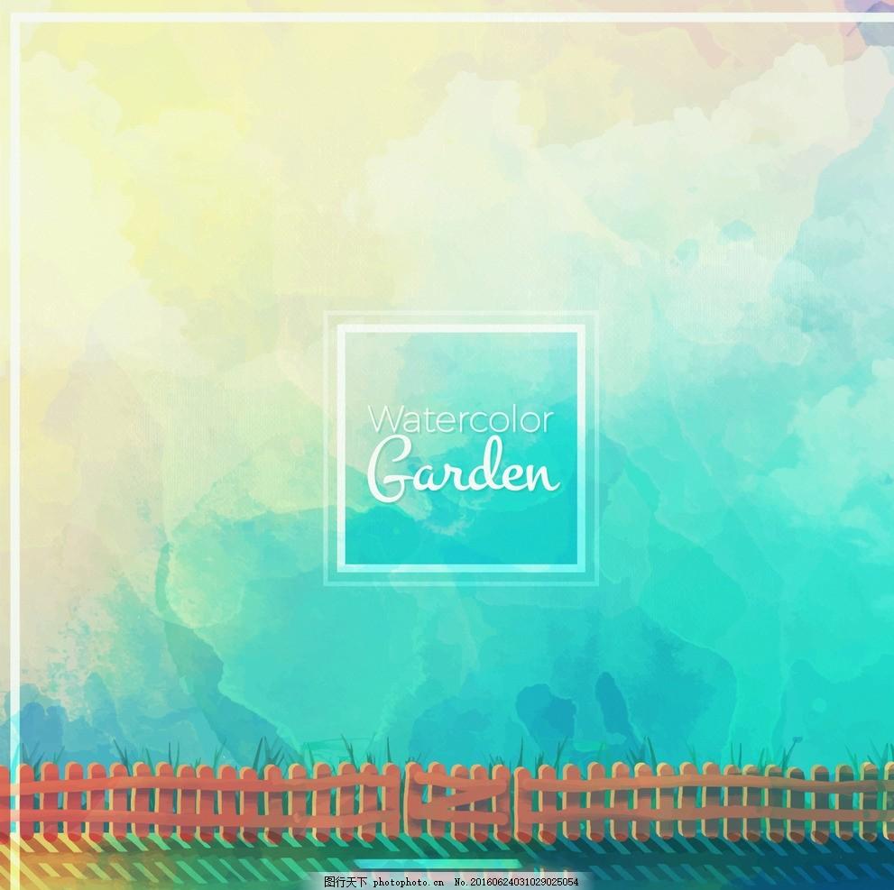 抽象水彩画背景 背景 摘要 花卉 水彩 鲜花 手 自然 绿色 天空 山水