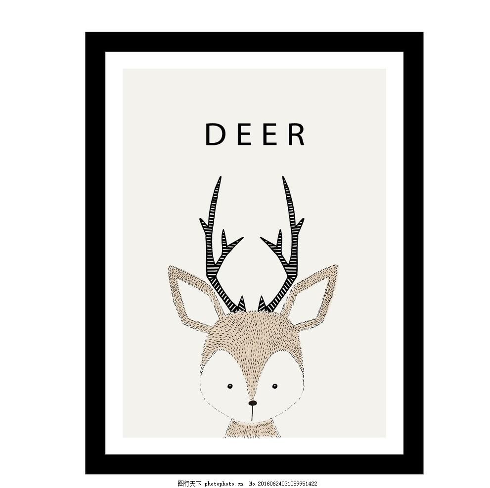 手绘鹿 背景 框架 动物 绘制 可爱 壁纸 绘画 插图
