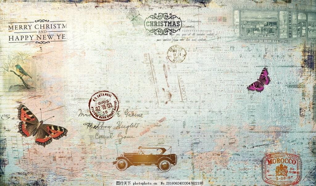 花型图案 蝴蝶 汽车 客厅背景墙 邮票 素材魔板 古典 复古的 欧式建筑