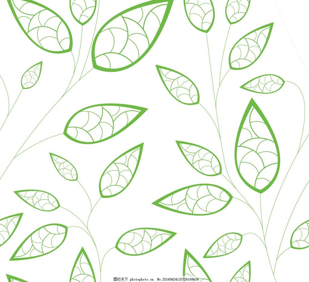 叶子线条 绿色 矢量树叶图片