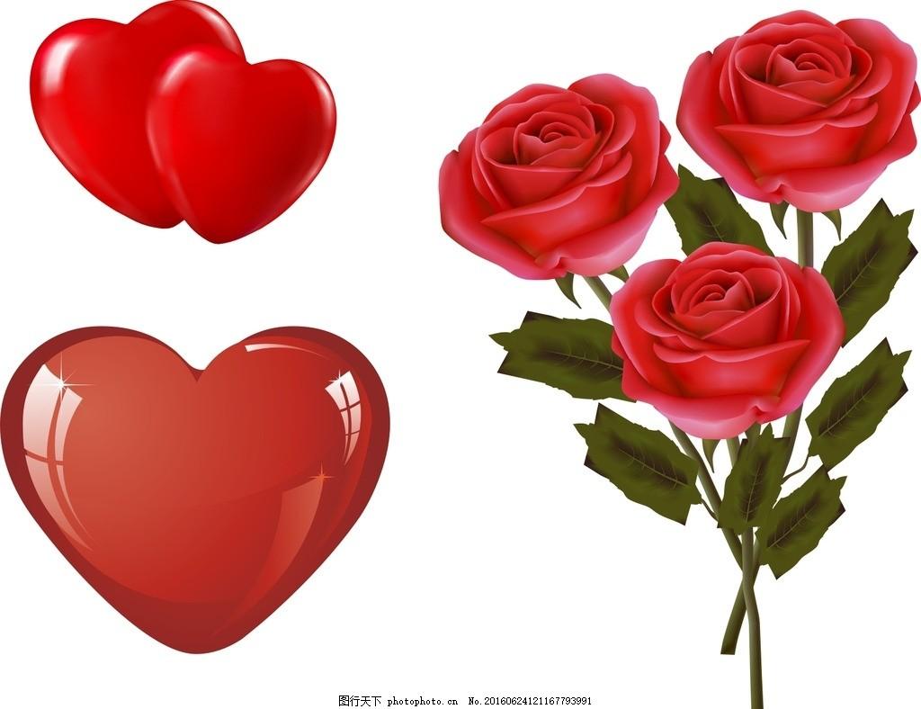 红色玫瑰花 矢量玫瑰花 露水玫瑰 玫瑰花朵 心形浪漫素材 卡通心形