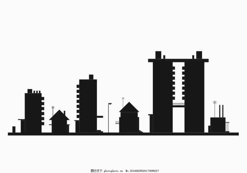 城市楼房剪影 cdr 矢量 城市 楼房 剪影 简洁 线条 设计 标志图标