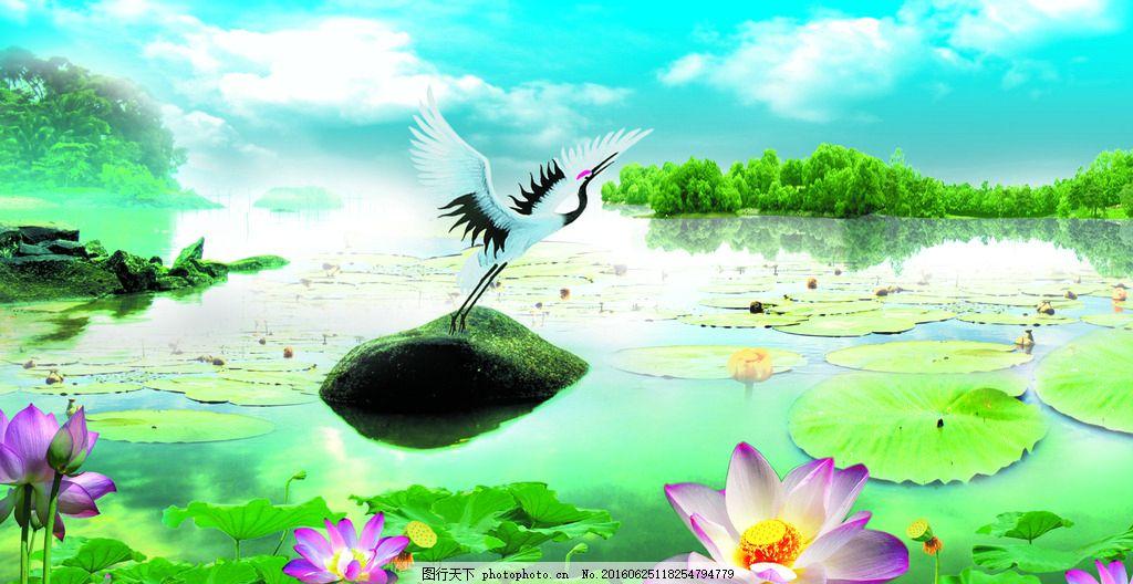 山水风景 模版下载 仙鹤 莲池 荷花 荷叶 天空 源文件 自然风景