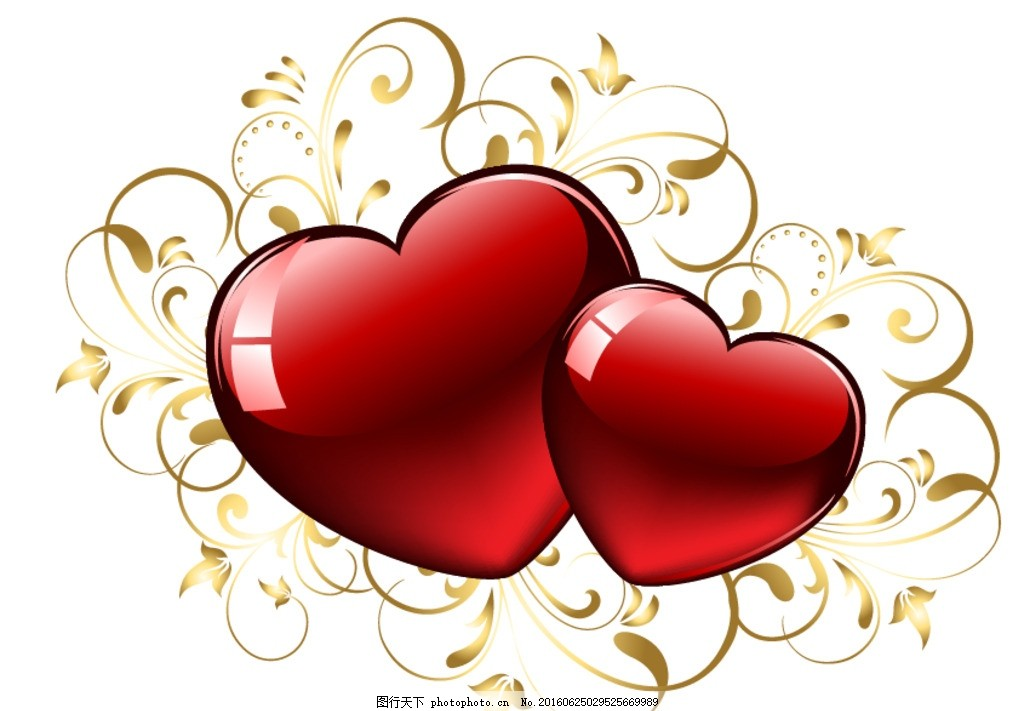 欧式花纹 金色花 花纹爱心 金色花纹 金色爱心 古典花纹 七夕 欧式