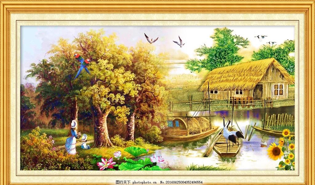 山水油画风景 图片下载 欧式油画 装饰画 壁画 风景画 风景油画
