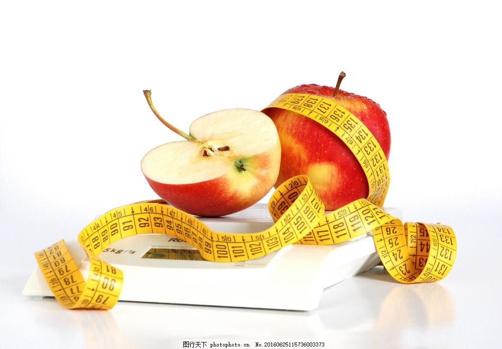 软尺与新鲜苹果 软尺与新鲜苹果图片素材 皮尺 新鲜水果 水果摄影