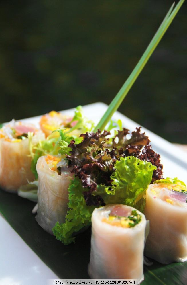 越南春卷 三文鱼 西餐 美食 西式 沙拉 西餐美食 餐饮美食 摄影图片
