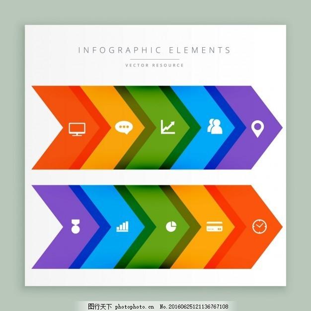 图表箭头 图表 业务 模板 图形 演示 色彩 图表设计    信息 流程