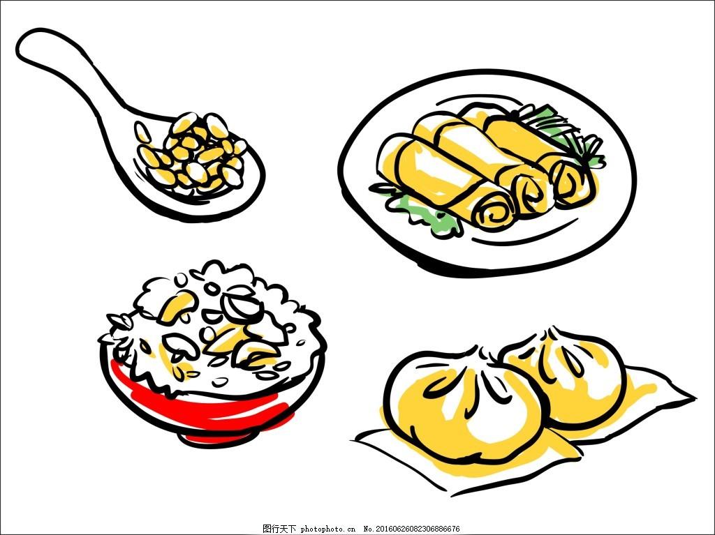 平面线稿手绘食物装饰图案 手绘 线稿画 米饭 春卷 包子 手绘食物