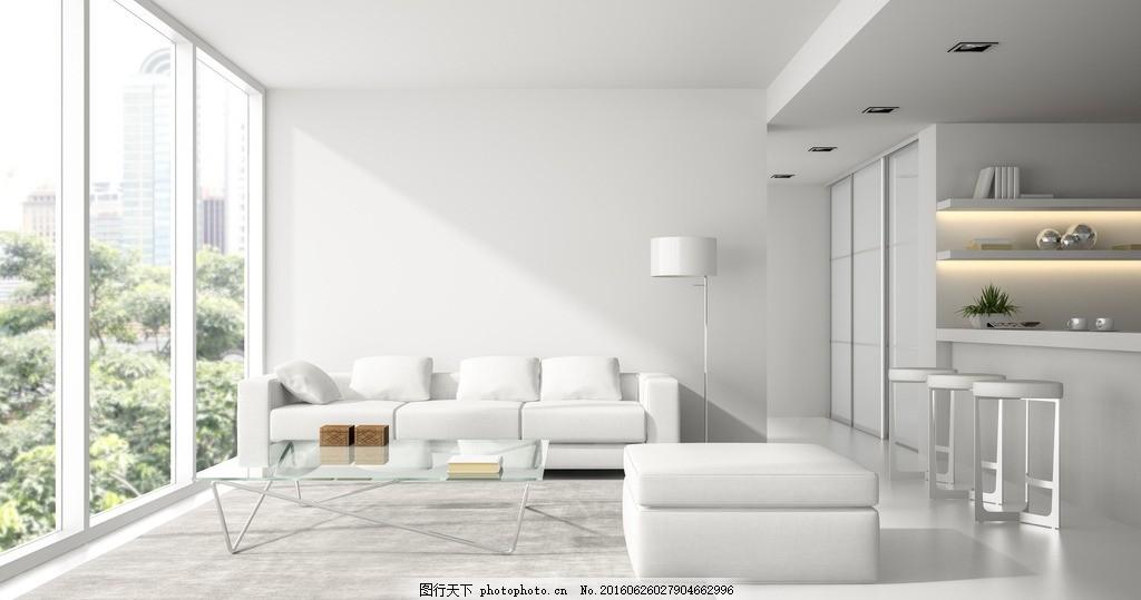 唯美客厅 家居 家具 简洁 欧式 浪漫 白色系 白沙发 落地窗