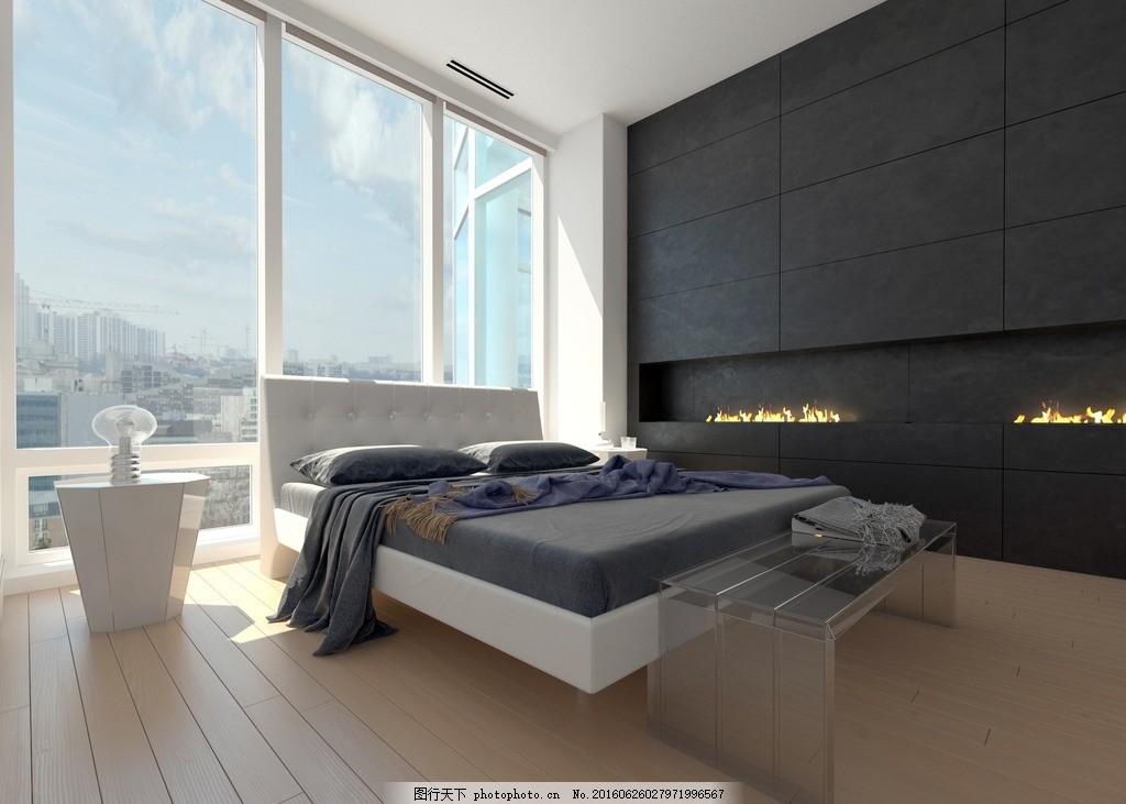 唯美卧室 家居 家具 简洁 欧式 浪漫 大床 木地板 落地窗